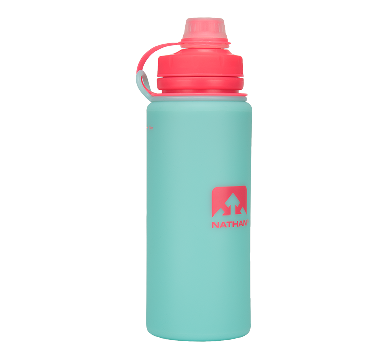 Features & Benefits  Soft, squeezable, and indestructible, this 24oz silicone bottle packs down easily for transport when empty, and has insulated properties that keep water cooler, longer.  Silicone bottle that packs down for easy transport  Insulated properties keep water cooler, longer  Sip-friendly narrow spout for easy drinking  Tethered lid stays attached to the bottle  Wide mouth for easy cleaning and filling  Dishwasher safe (top rack only)  BPA-free with odorless and tasteless technology