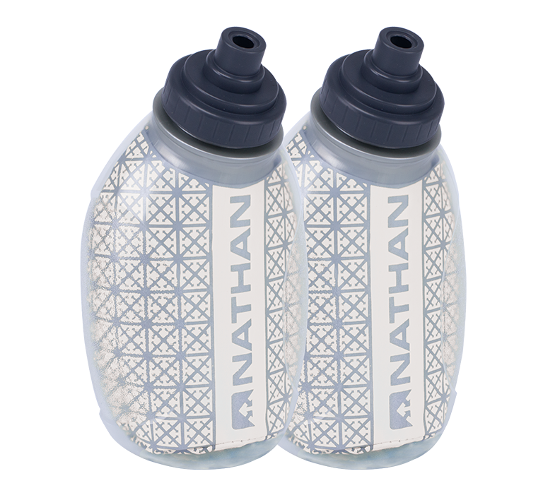 Features & Benefits  The first-ever, double-wall insulated Flask with Fire & Ice technology means you've found your new favorite Flask.  Double-walled construction keeps fluid cooler 20% longer than other insulated bottles  Integrated reflective fabric offers 360-degree reflectivity for visibility in low-light conditions  Race Cap offers quick bursts of fluid  Fits all 10 oz NATHAN hydration belt SpeedFit holsters and the QuickShot Plus insulated handheld