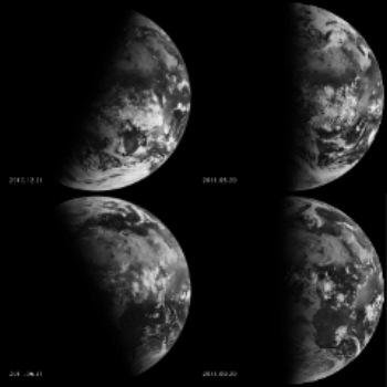 Images of the Earth from NASA's Goddard Space Flight Center. The images on the left show the winter and summer solstices. The images on the right show the spring and autumn equinoxes.