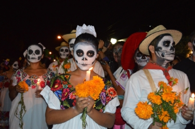 A Day of the Dead procession.