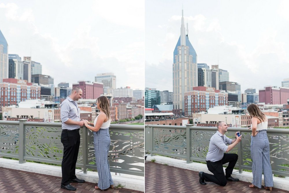 Downtown-Nashville-City-Surprise-Proposal-on-Pedestrian-Bridge-Engagement-Session-Nashville-Wedding-Photographer+1