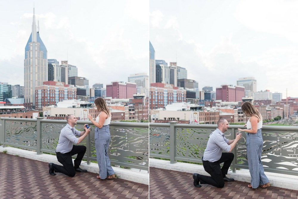 Downtown-Nashville-City-Surprise-Proposal-on-Pedestrian-Bridge-Engagement-Session-Nashville-Wedding-Photographer+2