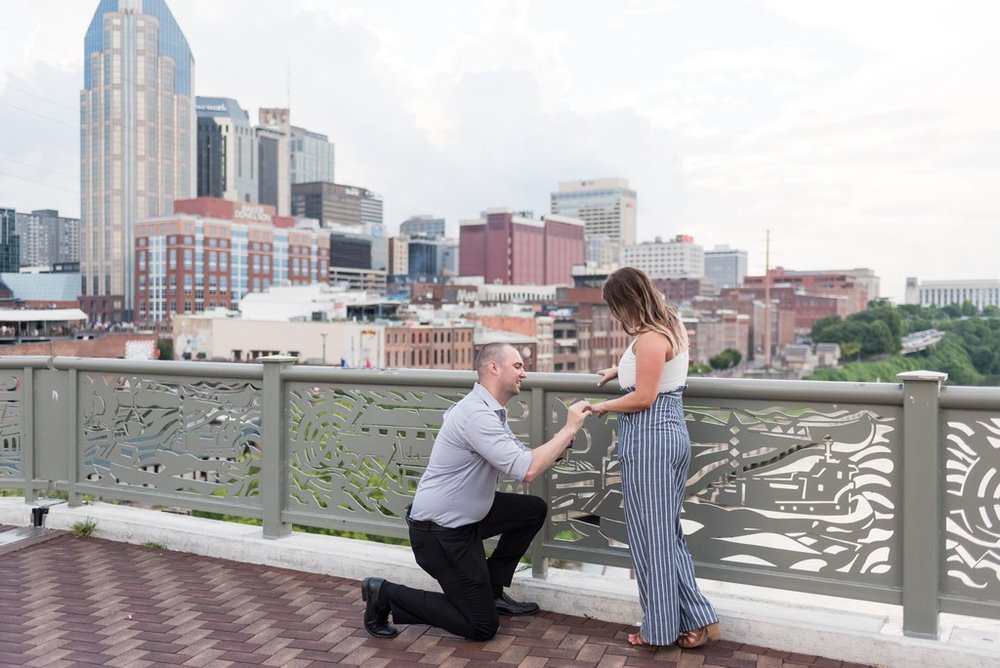 Downtown-Nashville-City-Surprise-Proposal-on-Pedestrian-Bridge-Engagement-Session-Nashville-Wedding-Photographer+3