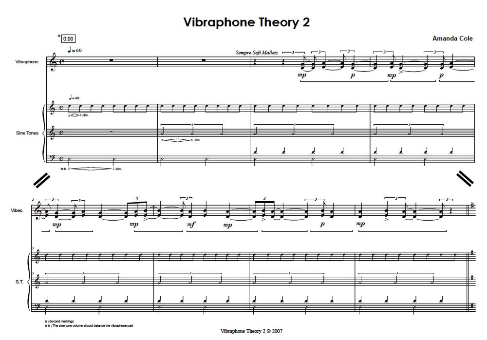 First page of Vibraphone Theory 2. The rhythms of the sine tone interference beats are notated in the score.