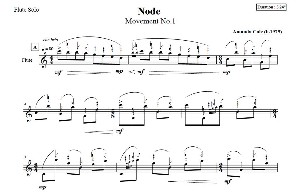 Score Excerpt - Node : Microtonal Flute Solo by Amanda Cole