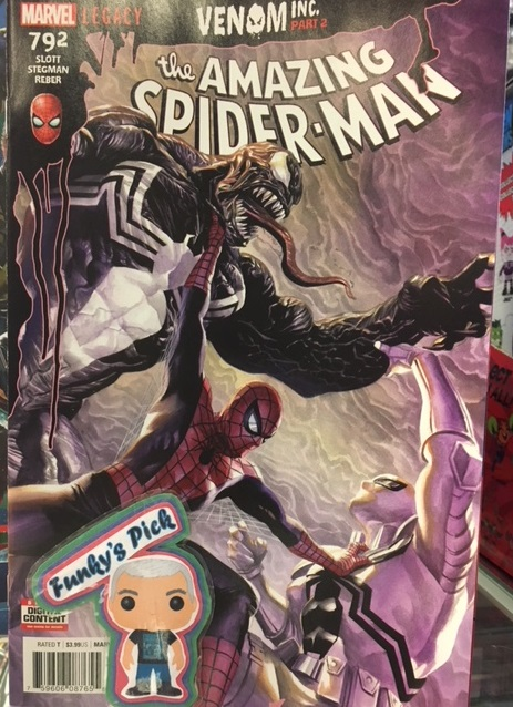 The Amazing Spider-Man #792 - Funky's PickVENOM INC. Part 2. Spider-Man finds himself between Eddie and a mysterious new figure! And Black Cat and her gang find themselves face-to-face with an amped-up villain named Maniac that might just rip those faces right off.