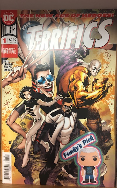Terrifics #1 - Funky's PickWriter: Jeff LemireArtist: Ivan Reis, Joe PradoBound together by fate, united by the spirit of exploration and hope for tomorrow, the Terrifics are bound from the Dark Multiverse of Metal! When Mr. Terrific, Metamorpho, Plastic Man and Phantom Girl find themselves literally bound together by a tragic accident, our team of unlikely allies must rely on one another to make their way back home. But a startling revelation on their return trip brings them face to face with a new mystery: Where in the universe is Tom Strong?
