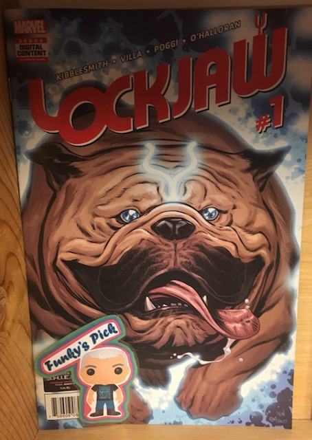 Lockjaw #1 - Funky's PickWriter: Daniel KibblesmithArtist: Carlos VillaColors: Chris O'HalloranLetters: Clayton CowlesWHO'S A GOOD BOY? Part 1. At long last, the dog has his day! Lockjaw spends most of his time defending the Inhuman empire alongside Black Bolt and Medusa. But when he gets a message that his long-lost litter mates are in danger, he'll spring into action to save them! But wait - Lockjaw has brothers and sisters? Can they teleport? Are they Inhuman? Can they possibly be as gosh-darned cute as their big brother? All the answers are here! Get ready for an adventure worth fetching for!