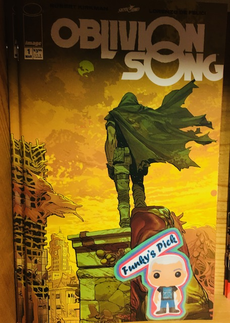 Oblivion Song #1 - Funky's PickWriter: Robert KirkmanArtist: Lorenzo De FeliciColorist: Annalisa LeoniLetterer: Rus WootonA decade ago, 300,000 citizens of Philadelphia were suddenly lost in Oblivion. The government made every attempt to recover them, but after many years, they gave up. Nathan Cole...won't. He makes daily trips, risking his life to try and rescue those still living in the apocalyptic hellscape of Oblivion. But maybe...Nathan is looking for something else? Why can't he resist the siren call of the Oblivion Song?