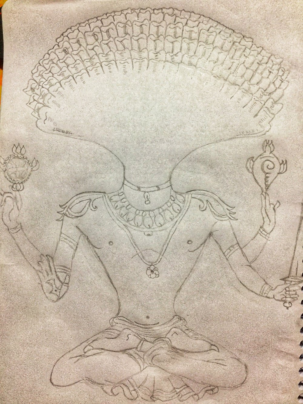 A drawing by Prerna of Sage Patanjali from a book cover of the Yoga Sutra-s that was given to us by our beloved teacher.