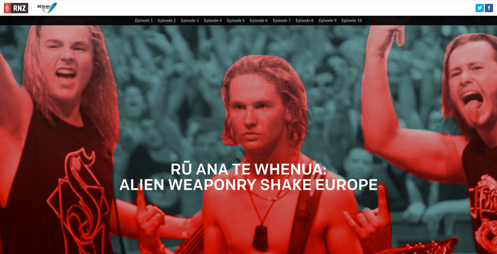Graphic design and photo-editing/treatment for the longform web story at RNZ on Alien Weaponry - New Zealand's young metal band who toured Europe and introduced many in the crowd to Te Reo Māori, the indigenous language of Aotearoa, New Zealand.  Follow this link to the full article:  https://lnkd.in/g-xw8ng