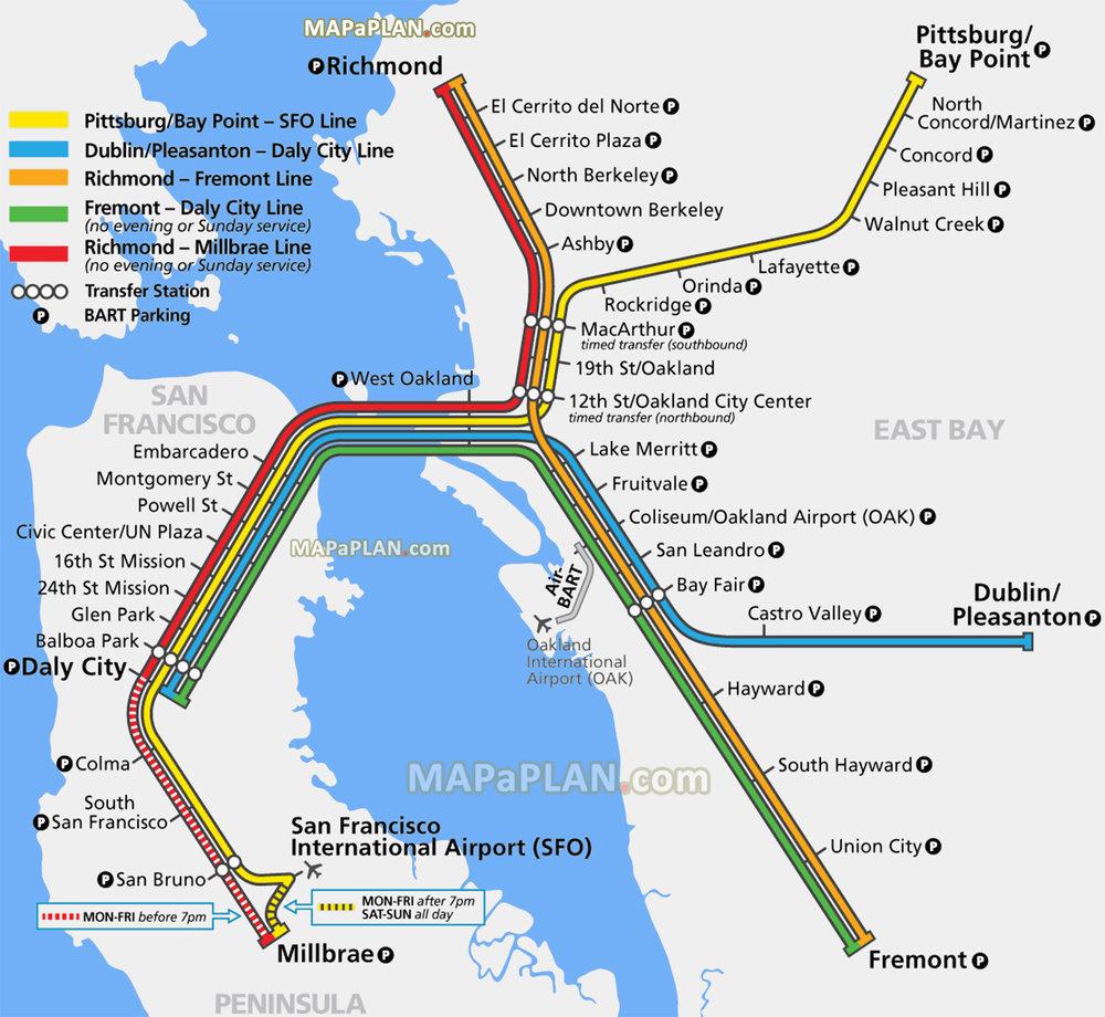 San Francisco Train Map San Francisco BART Airport Train Transfer Guide (SFO) — Train to  San Francisco Train Map