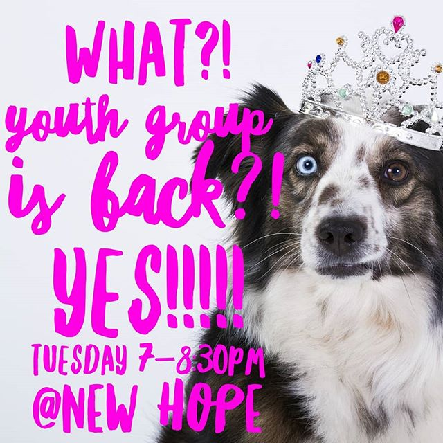 Tomorrow we are back at it! Middle School and High School Youth Group @ New Hope from 7-8:30pm! 🎉🎉 #newhopecov
