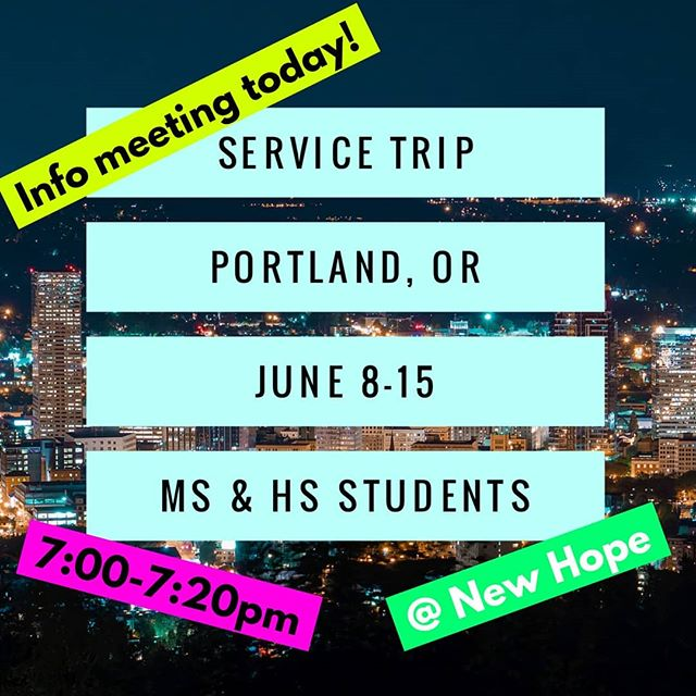 Parents and students! Our info meeting for our Service Trip is tonight from 7-7:20pm. (The first 20 minutes of youth group.) We will go over the basic trip schedule, costs, fundraising plans, and answer questions you may have! We only have 15 spots and they will go quickly. If you are interested in going, it will be important to be at this quick meeting tonight! See you at 7! #newhopecov #youthworks