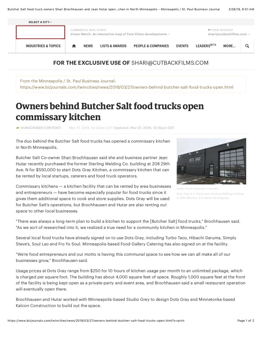Butcher Salt food truck owners Shari Brochhausen and Jean Hutar open commissary kitchen in North Minneapolis - Minneapolis : St. Paul Business Journal.png