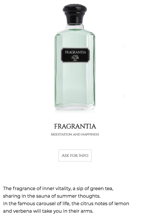 Product descriptions for e-commerce - Where poetry is required, Spectra translated the perfumer's inspiration for the collection of Aquaflor Firenze.
