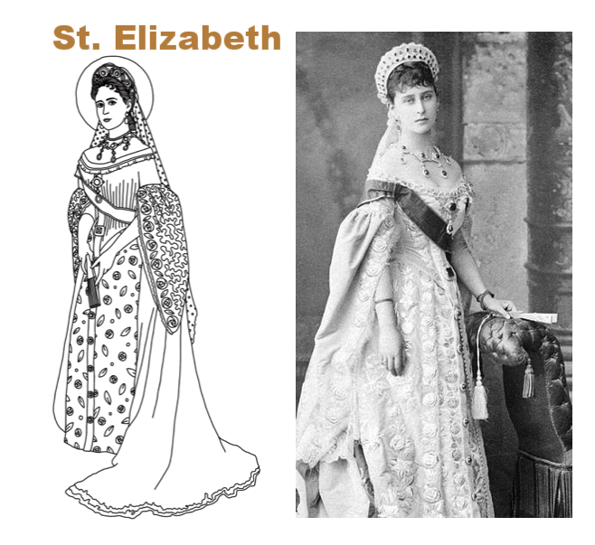 "Perhaps we can look to Saint Elizabeth the New Martyr, who lived a royal life through and through: the daughter of Princess Alice of Britain, granddaughter of Queen Victoria, and ultimately Grand Duchess of Russia. From the beginning, her personal matters were very public, and along with the gowns and jewels came a very real sense of moral responsibility. Ultimately the glamour of her life abruptly ended with the assassination of her husband, the Grand Duke Sergei. By choice, she had her valuables sold and given to the poor. Giving up ball gowns for a monastic habit, she founded a monastery and hospital and, while she still had her royal title, freely gave up all of the benefits in return for a life of prayer and ministry. The Bolshevik's ultimately took her earthly title by throwing her and the nun Barbara into a mine-shaft. The light of Christ burned on as the local villagers heard her singing hymns hours after being thrown in that wretched hole. She may have left royal life, but she never left the court of our Lord. Researching a story like hers, I think, ""This is what I want my children to imitate."""