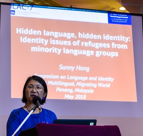 Dr. Sunny Hong presents her work on identity issues for refugees from minority language groups