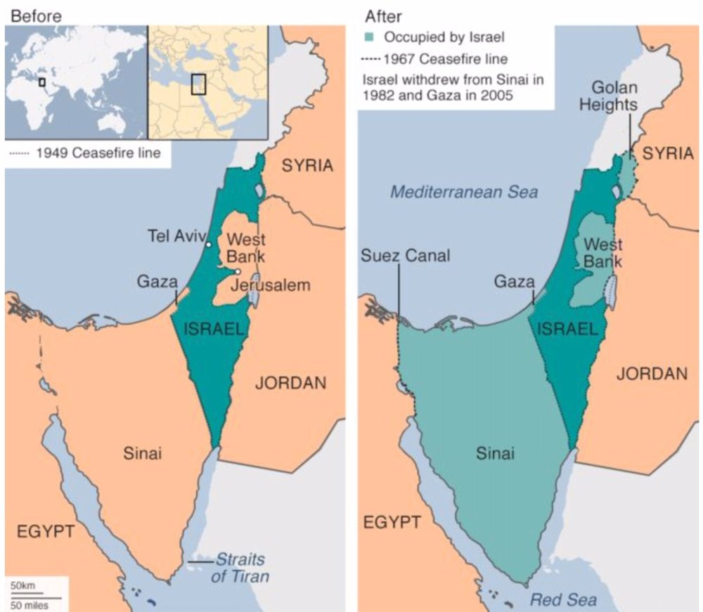 . Before and after the 1967 war. credit: bbc news