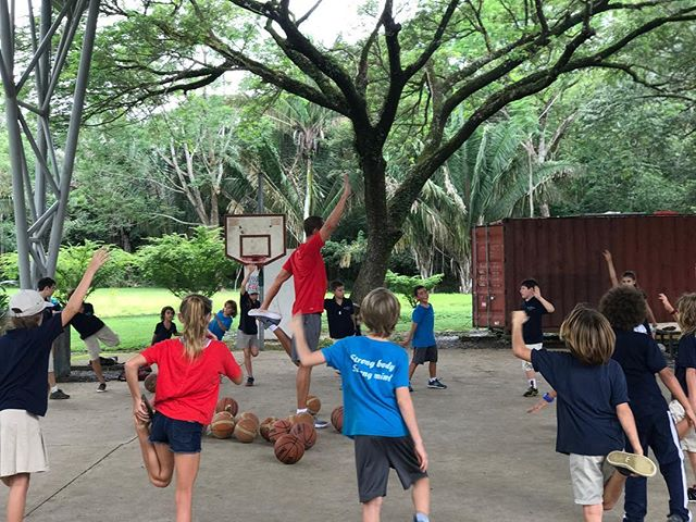 Welcome to the jungle!! (literally) Howler monkeys in the trees surrounding us, on & off thunderstorms, and high humidity couldn't distract this group from learning the FUNdamentals of basketball.