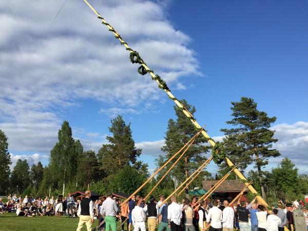 Erecting the flag pole