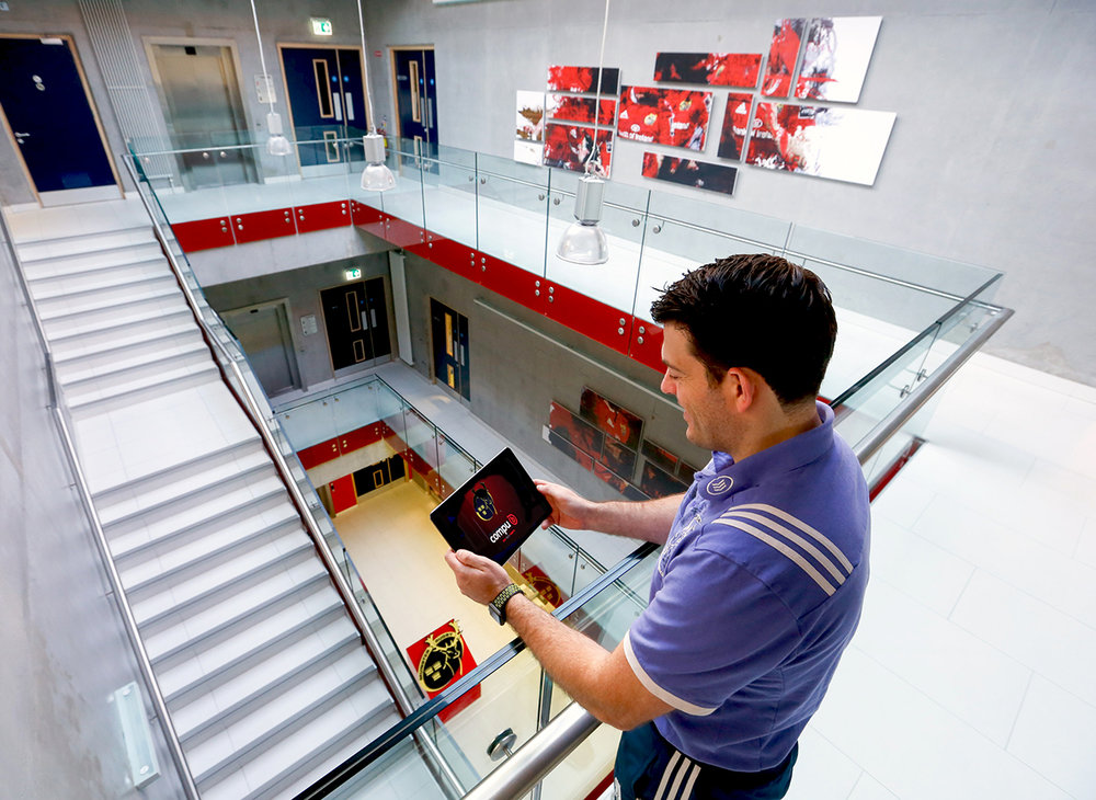 George Murray, Chief Video Analyst at Munster Rugby using iPad in the new High Performance Centre, Limerick