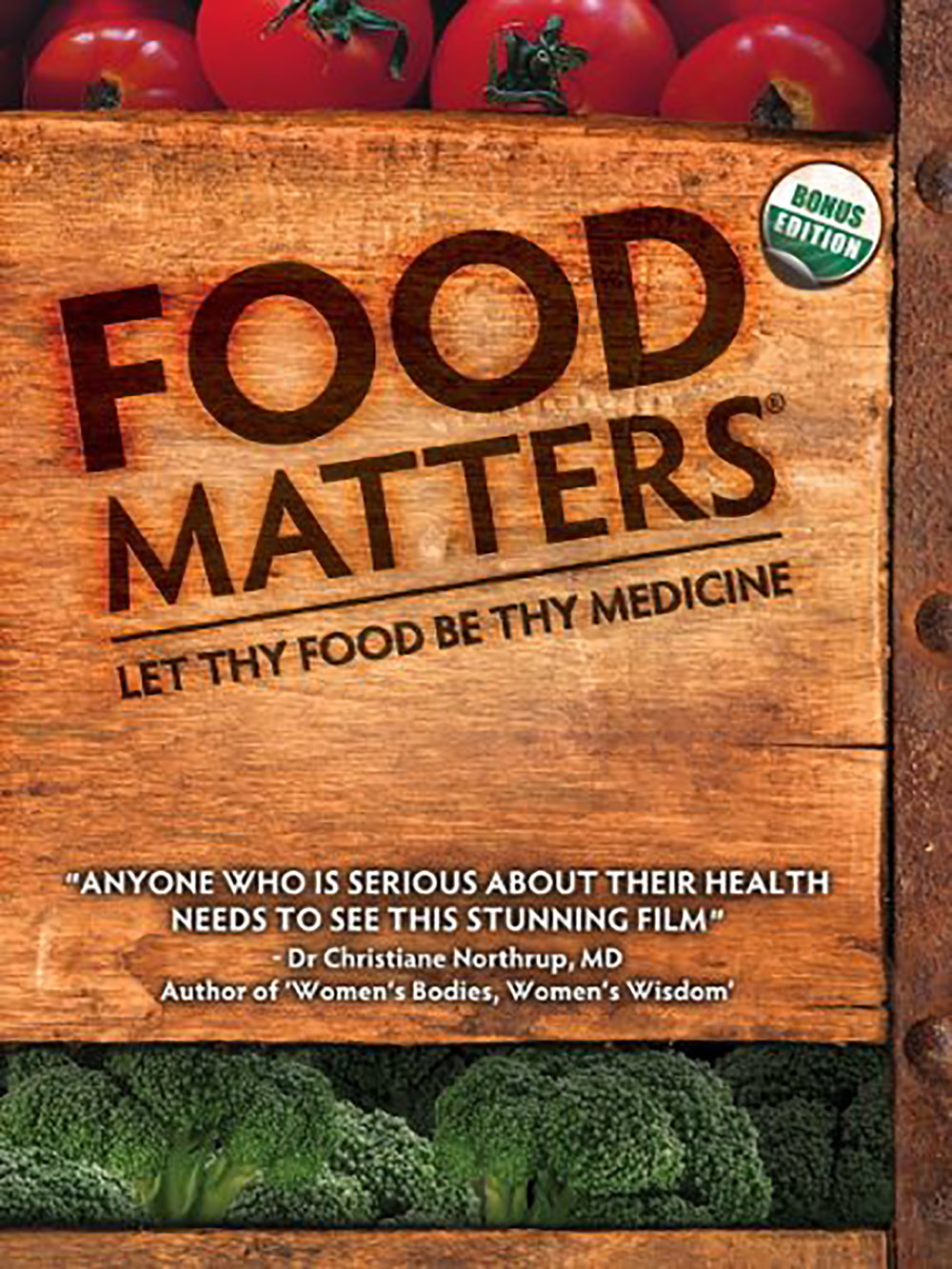 Food Matter  examines how the food we eat can help or hurt our health. Nutritionists, naturopaths, doctors, and journalists weigh in on topics organic food, food safety, raw foodism, and nutritional therapy.