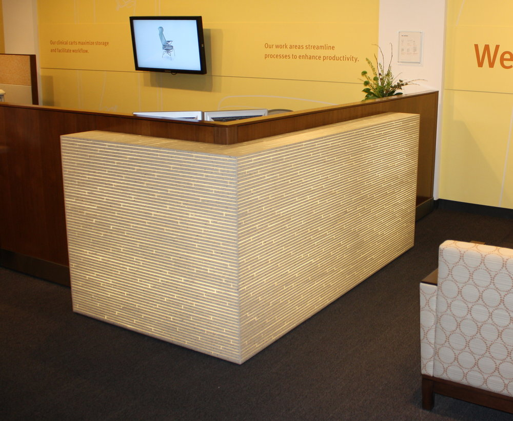 HMHC Neocon Desk - Herman Miller Healthcare seeks a beautiful enhancement for their standard station. Read More