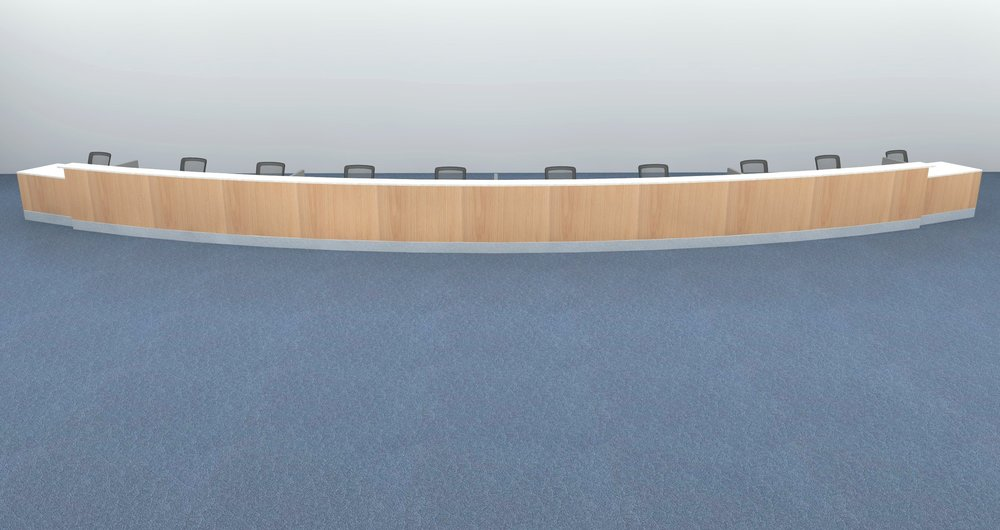 Curved Custom Millwork Rendering