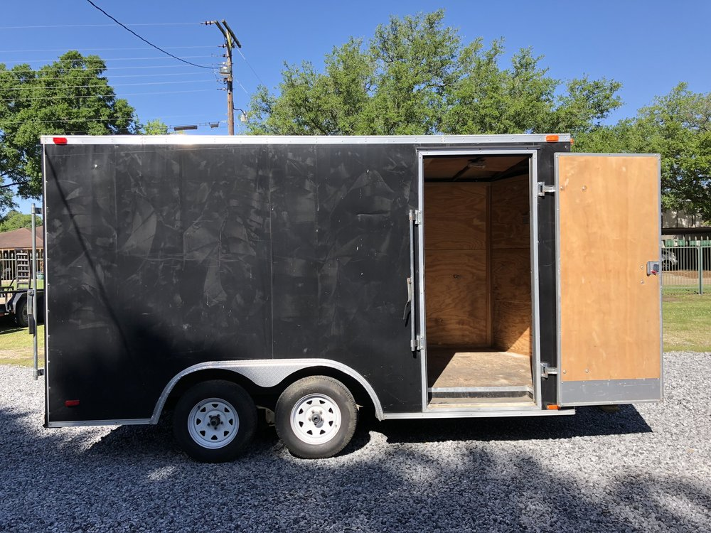 8'x 14' Cargo Trailer$100/Day - With tandem axle design and a steel-aluminum hybrid frame, the 8'x14' enclosed trailer is built to handle the toughest jobs. This trailer is made with high quality materials and expert manufacturing. Heavy loads, long hauls, and back roads are a perfect match for this 8'x14' enclosed trailer. Time tested and cargo approved, this trailer will help you get the job done, no matter how rough and tough.
