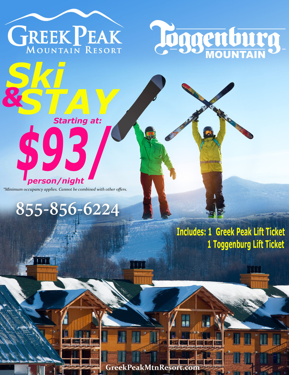 SKI & STAY - THIS SEASON ONLY! Ski at Toggenburg Mountain and Greek Peak Mountain Resort and stay at the Hope Lake Lodge Friday - Sunday for just $93/night!