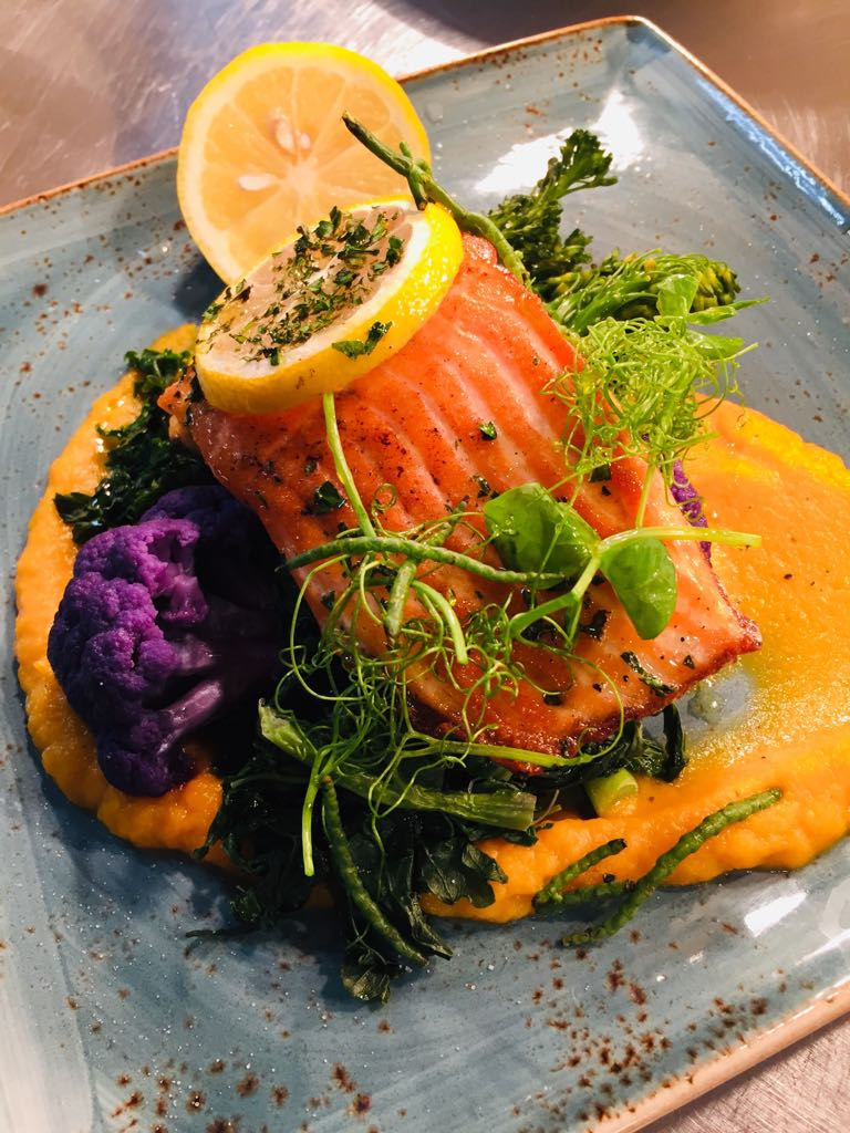 Sea Trout with butternut squash purée and seasonal vegetables.jpeg