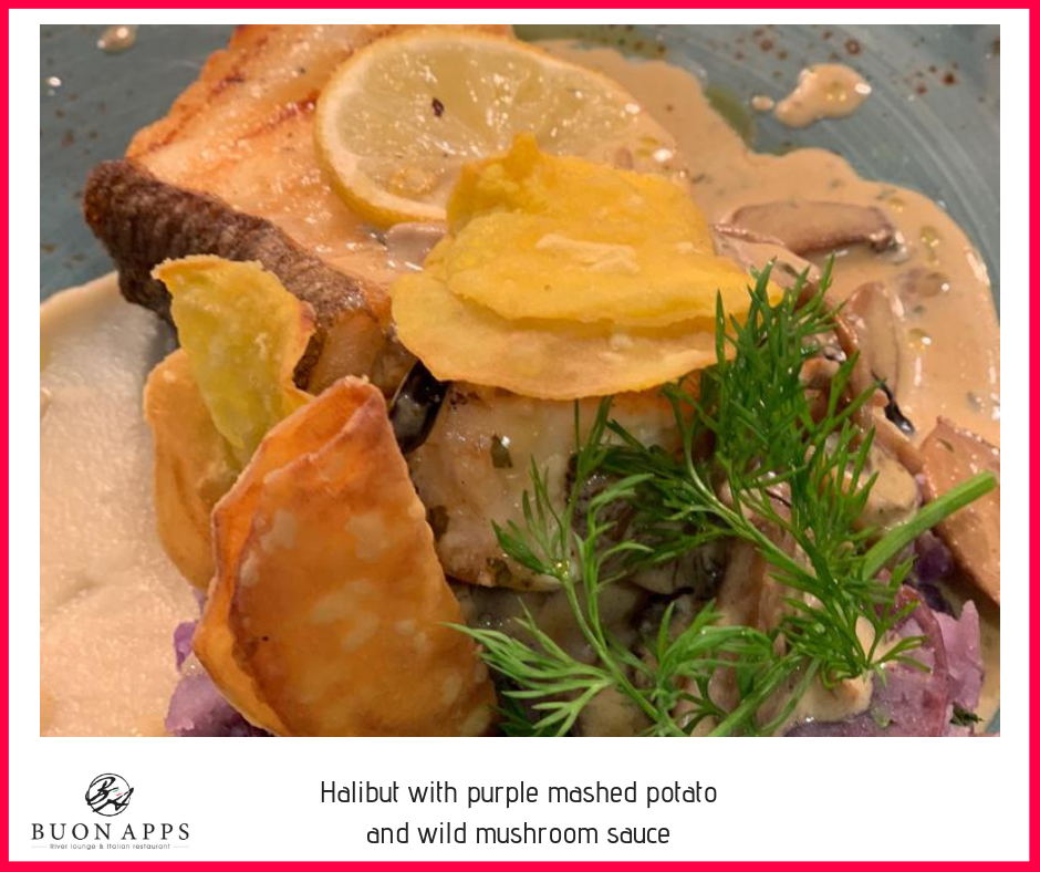 Halibut with purple mashed potato and wild mushroom sauce.png