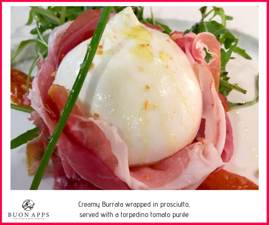Creamy Burrata wrapped in prosciutto and served with a torpedino tomato purée.png