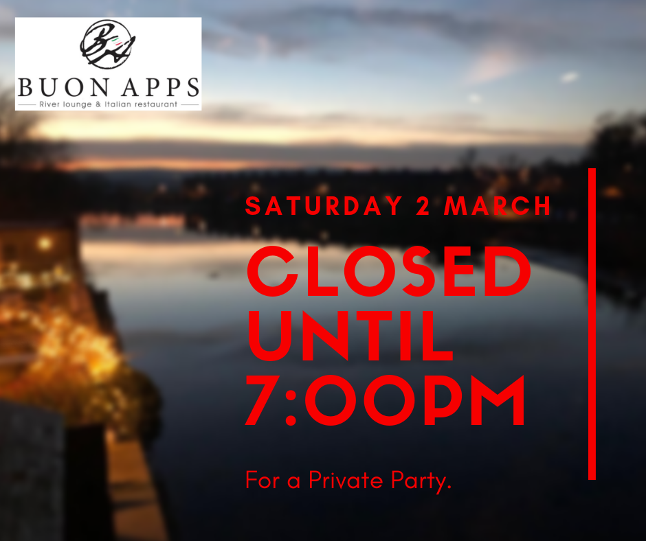 2nd March - We're closed for a private party until 7:00 pm on Saturday 2nd March. Tables will be available from 7:00 pm but booking is recommended. Grazie.