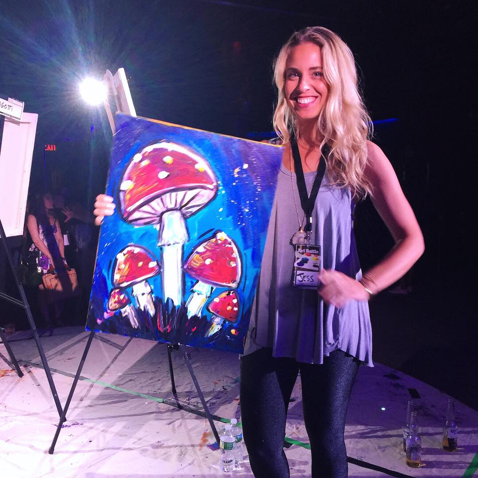 Competing in the NYC Art Battle live painting competition