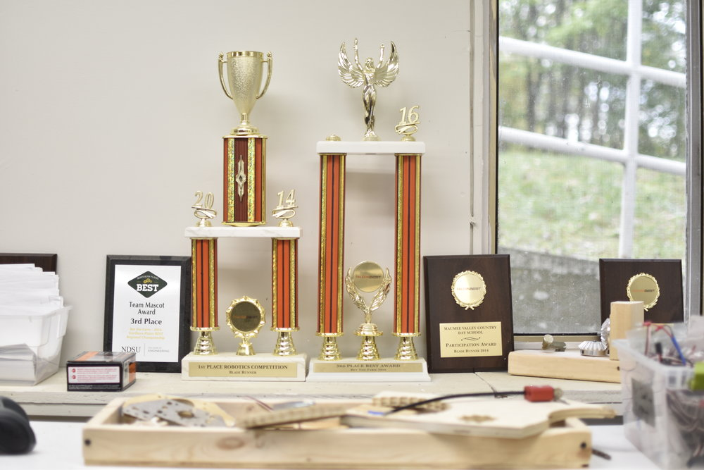 Above: Trophies the team has won through the years.