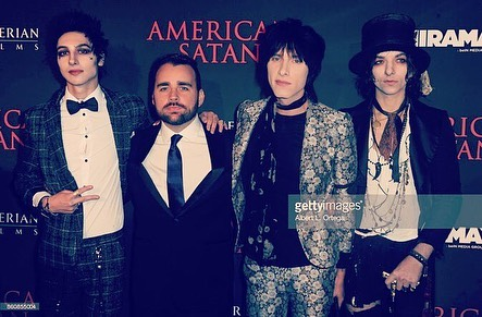 The new @palayeroyale album is out now on @sumerianrecords Here are the boys at the premiere @remingtonleith @sebastiandanzig @emersonbarrett with our writer/director @ashavildsen swipe to hear some moments from the record! #americansatan #palayeroyale #sumerianrecords