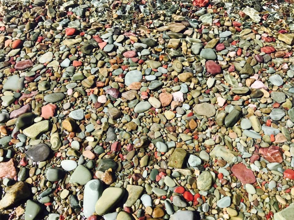 The prettiest assortment of skipping rocks at Lake McDonald.