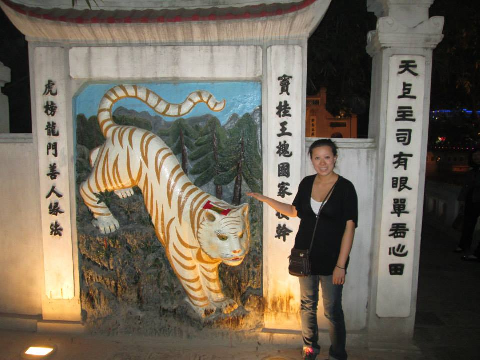 Tiger temple on the lake.