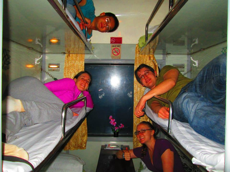 Very cozy sleeper train cabin!