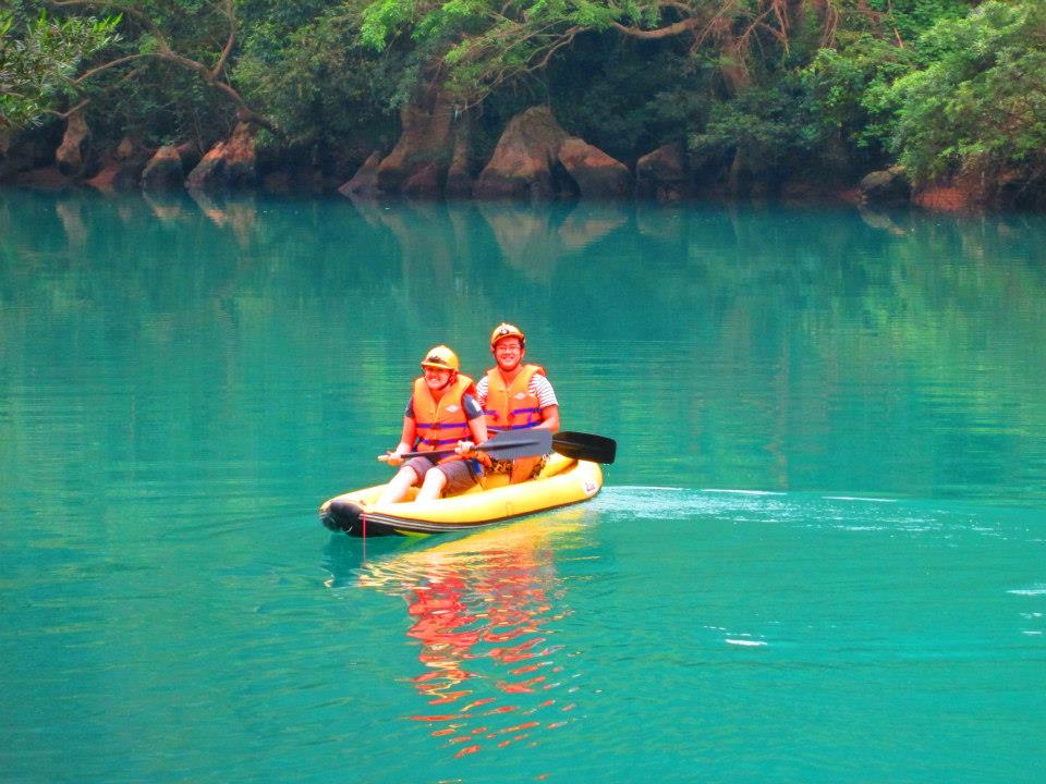 Kayak to the dark cave in Phong Nha Ke Bang Vietnam