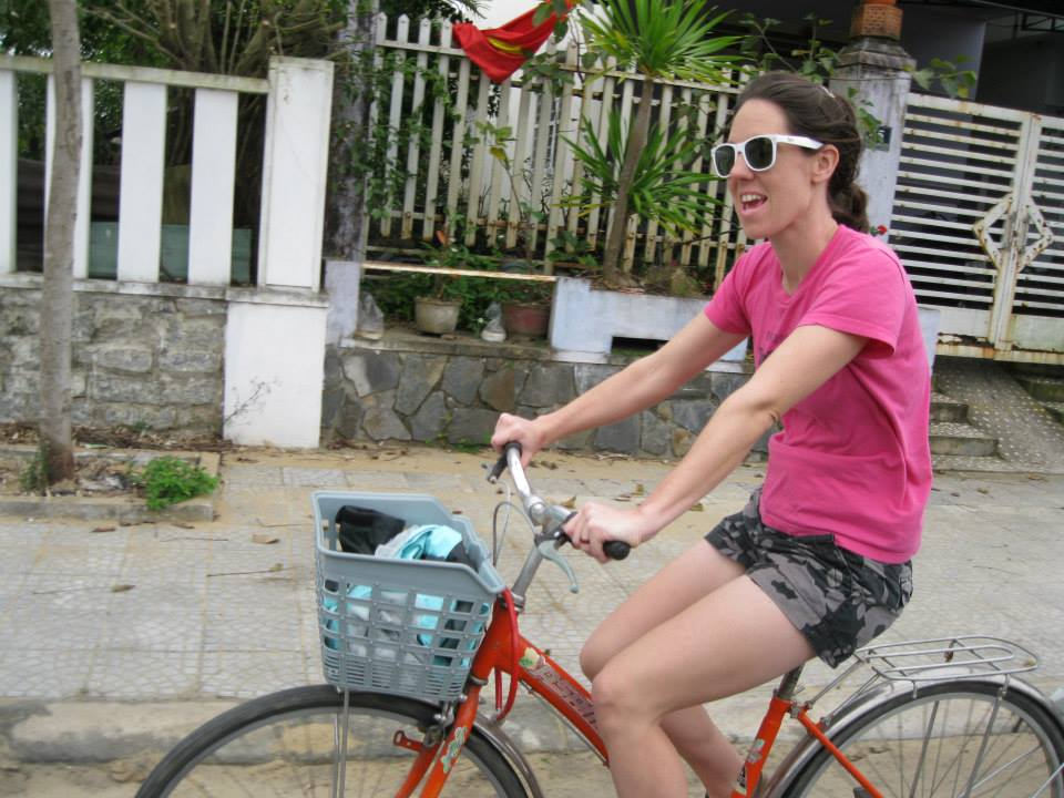 riding bikes in Hoi An, Vietnam