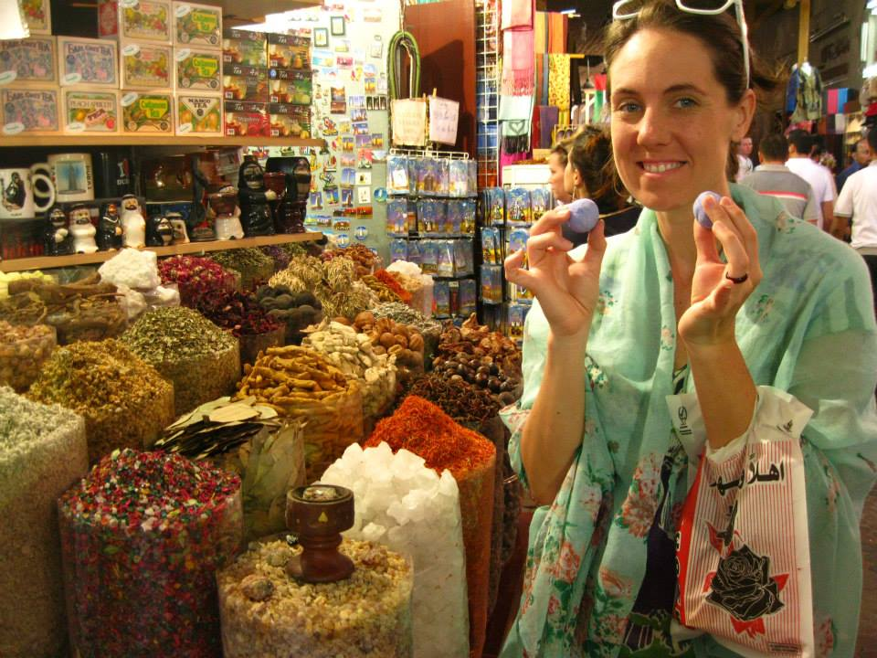 The spice souk smells amazing! These balls will cool you off when you rub them on your skin. Not sure what they are called, but it totally worked.