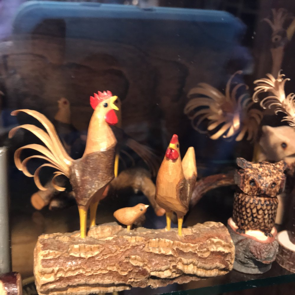 The larger version of the the whittled roosters was also pretty impressive.