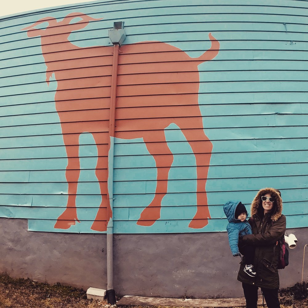 First, we parked outside of Taco Billy's where we found this fun mural.