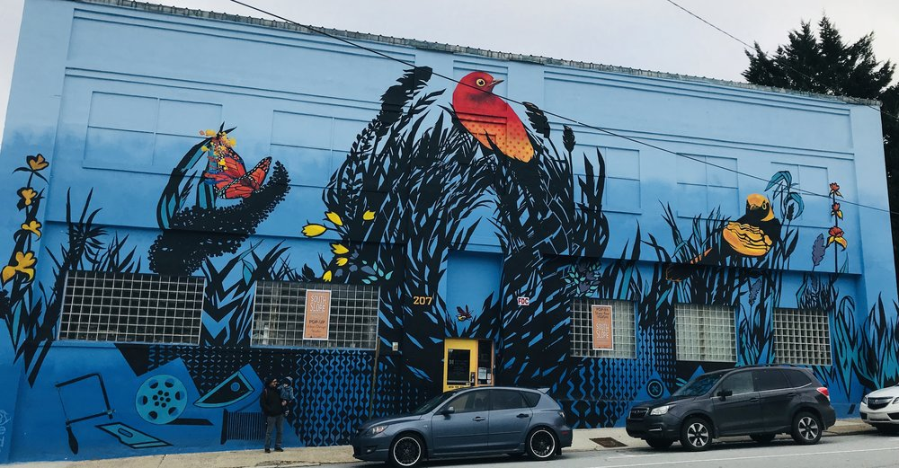 This is the mural by Lara Nguyen at the Refinery Creator Space.