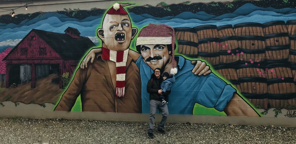 Tom Selleck and Sloth were bundled up for this frigid day as well. I don't think they generally wear hats and scarves.