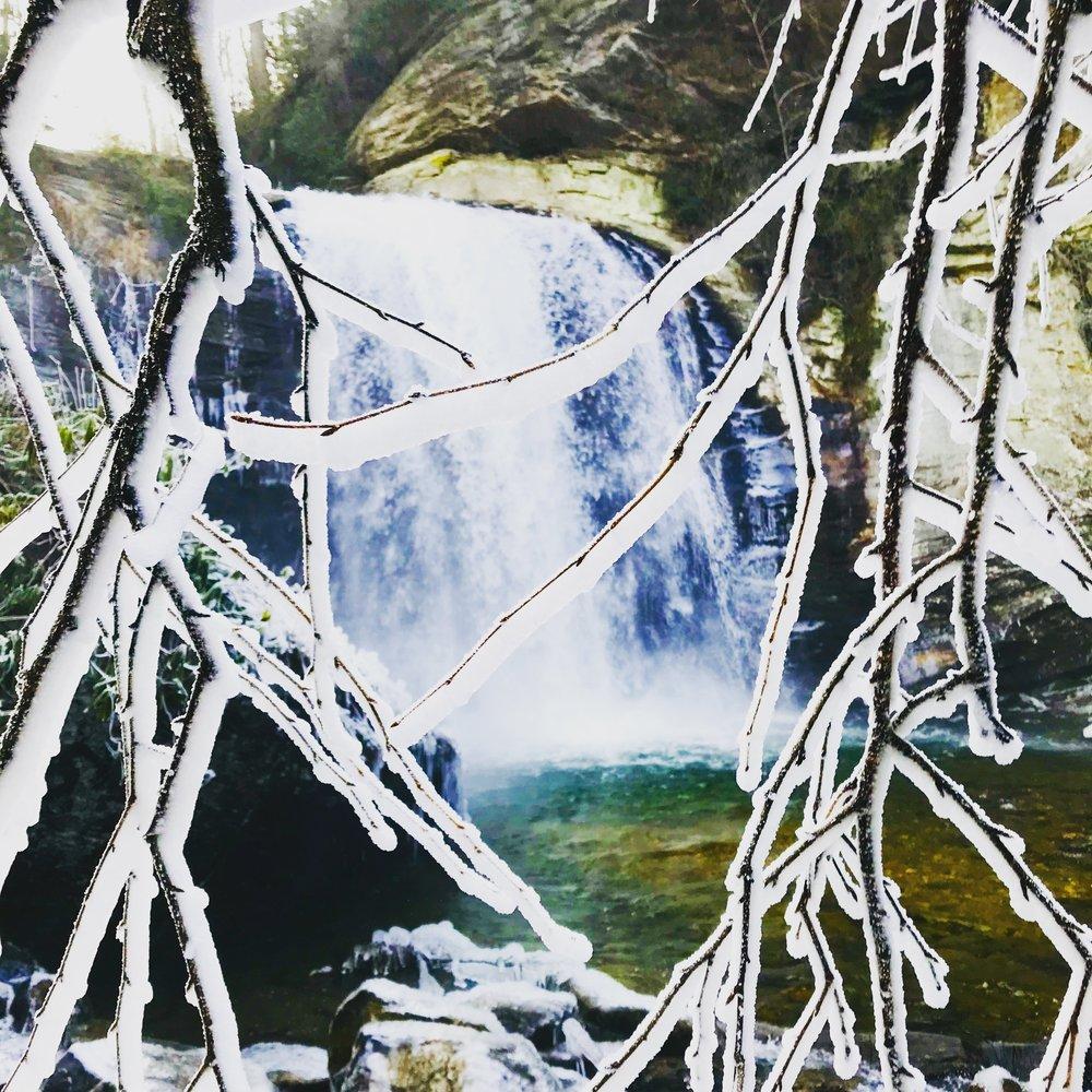 Frozen Looking Glass Falls - Pisgah National Forest