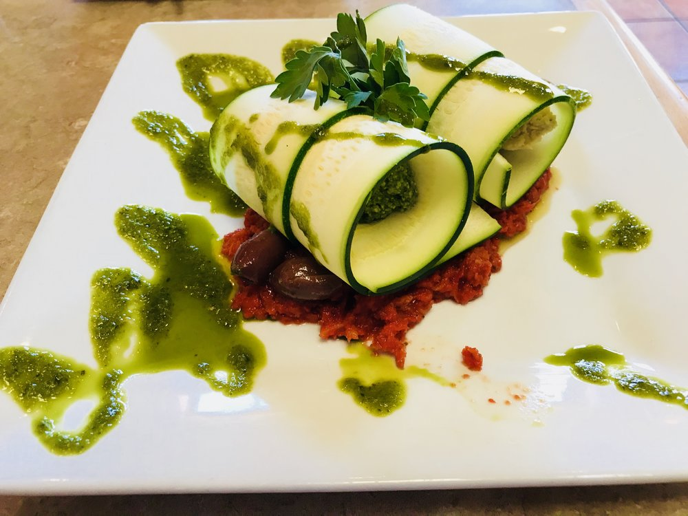 Raw Spinach Pesto Manicotti - Laughing Seed Cafe - Asheville, NC